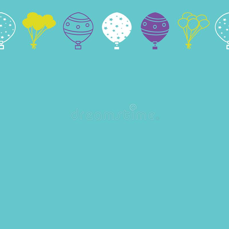 Wektorowi błękitni horyzontalni balony graniczą bezszwowego deseniowego tło royalty ilustracja