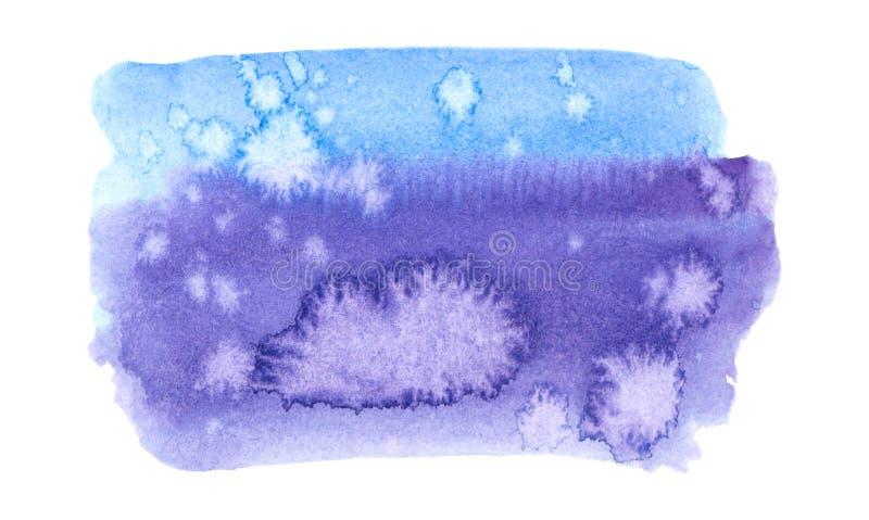 Wektorowi błękitni i purpury malują teksturę odizolowywającą na bielu - akwarela sztandar dla Twój projekta royalty ilustracja