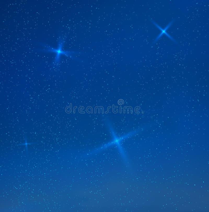 Wektorowi błękitni wieczór skyes z gwiazdami royalty ilustracja