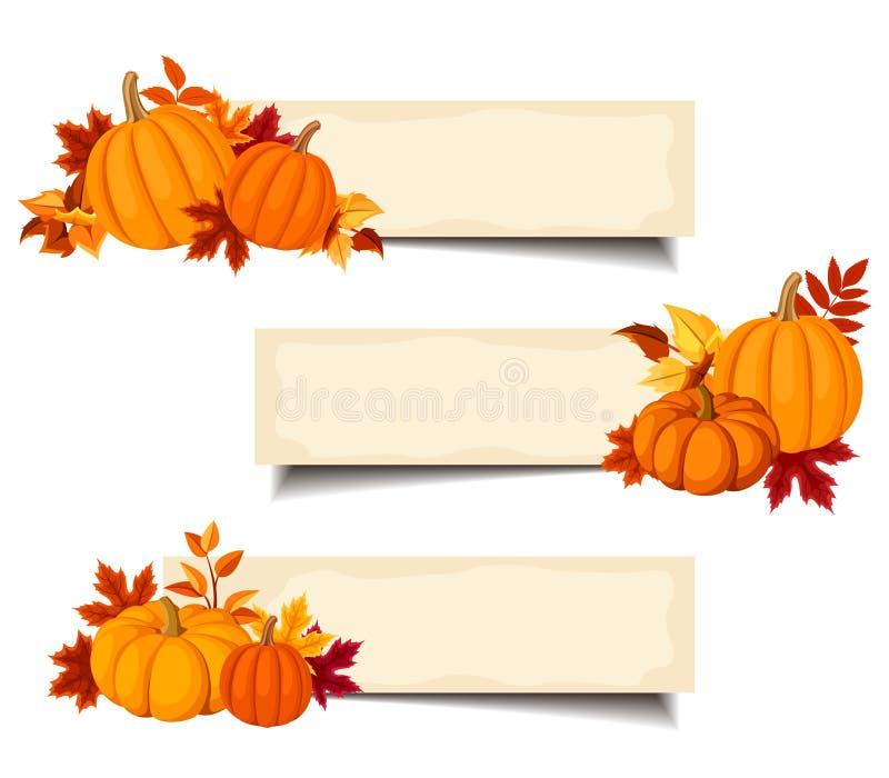 Wektorowi beżowi sztandary z pomarańczowymi baniami i jesień liśćmi ilustracja wektor