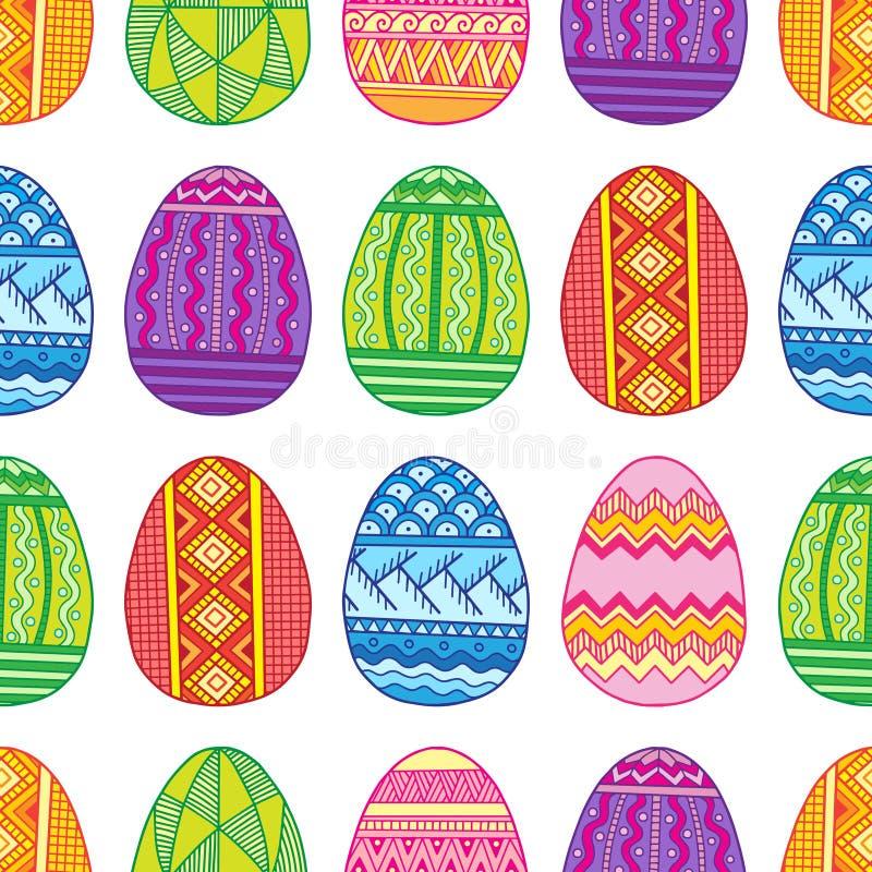 Wektorowi Bezszwowi deseniowi jaskrawi Wielkanocni jajka royalty ilustracja