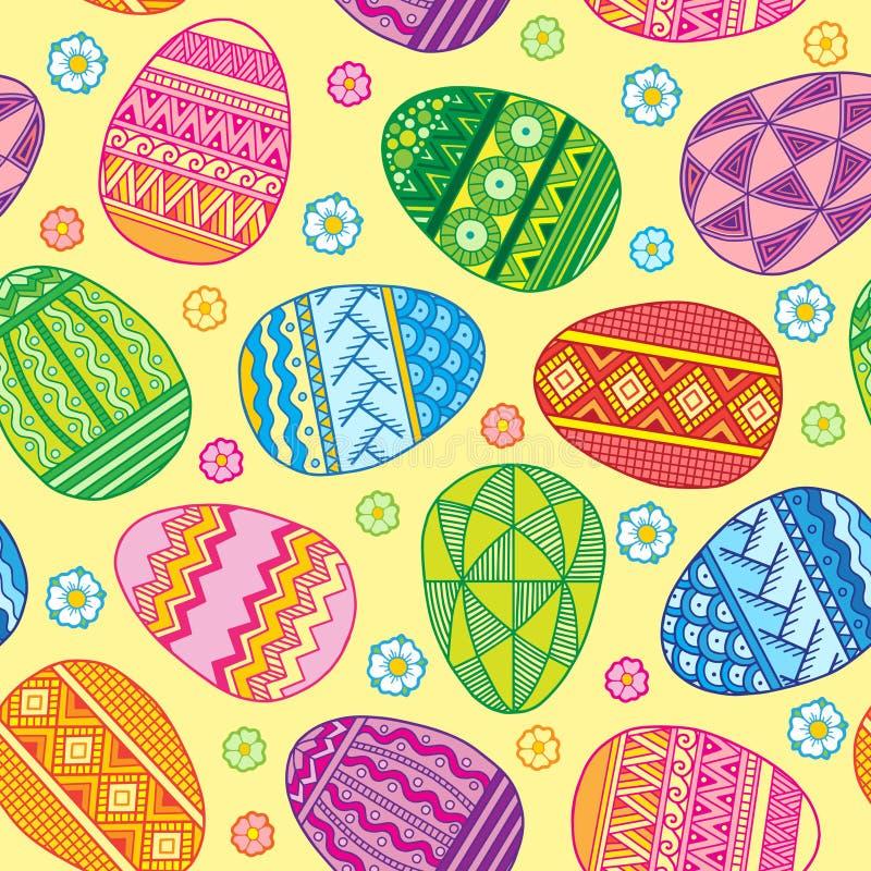 Wektorowi Bezszwowi deseniowi jaskrawi Wielkanocni jajka ilustracja wektor