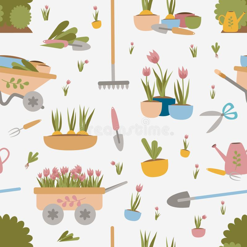 Wektorowi Bezszwowi Deseniowi Ogrodowi narzędzia Łopata, świntuch, siekacz, garnki kwiaty i rozsady, Ogrodowi łóżka, krzaki i drz royalty ilustracja