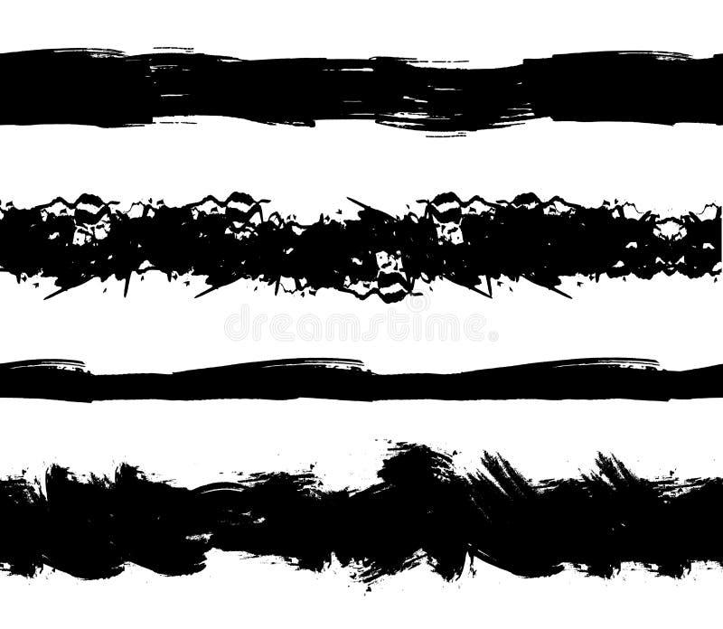 Wektorowi Bezszwowi farba lampasy, Grunge czerni Abstrakcjonistyczni uderzenia Odizolowywający na Białym tle royalty ilustracja