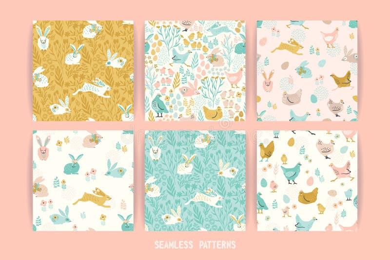 Wektorowi bezszwowi wzory z królikami i kurczak dla wielkanocy i innych użytkowników royalty ilustracja