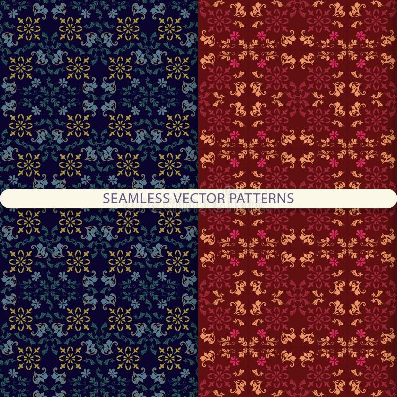 Wektorowi bezszwowi wzory z ornamentów elementami i botanicznymi elementami Druk dla tkanin, opakunkowy papier, tapetowy projekt, royalty ilustracja