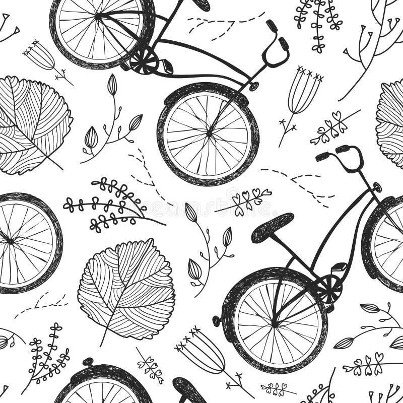 Wektorowi bicykle, kwiecisty, i liście wręczają patroszonego bezszwowego wzór Rocznika doodle stylu tło royalty ilustracja