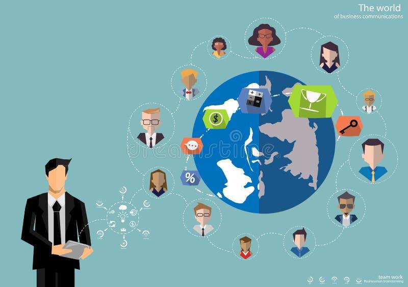 Wektorowi biznesmena brainstorming pomysły dla komunikować globalnego handlowego płaskiego projekt ilustracja wektor