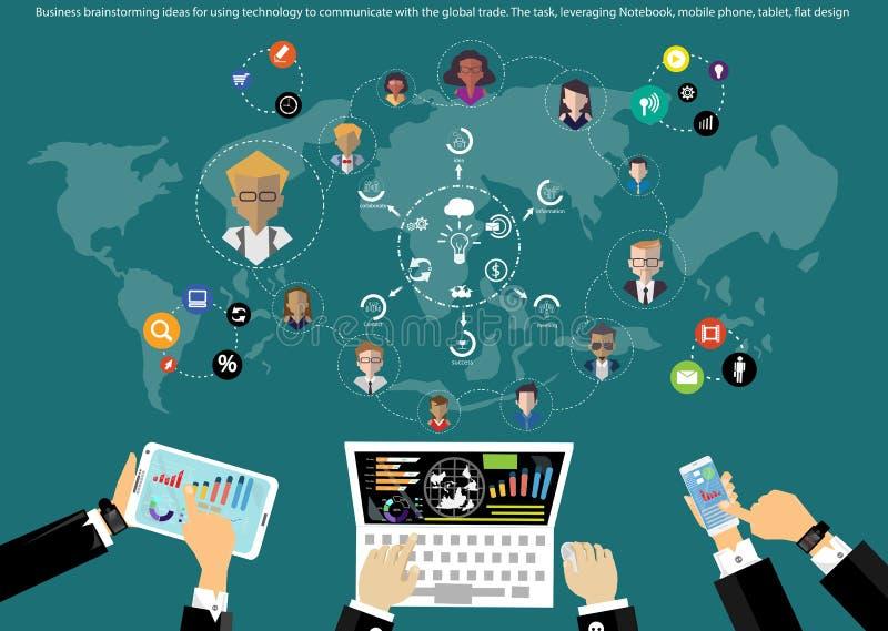 Wektorowi biznesmena brainstorming pomysły dla używać technologię komunikować na całym świecie handlować z pastylka płaskim proje ilustracji