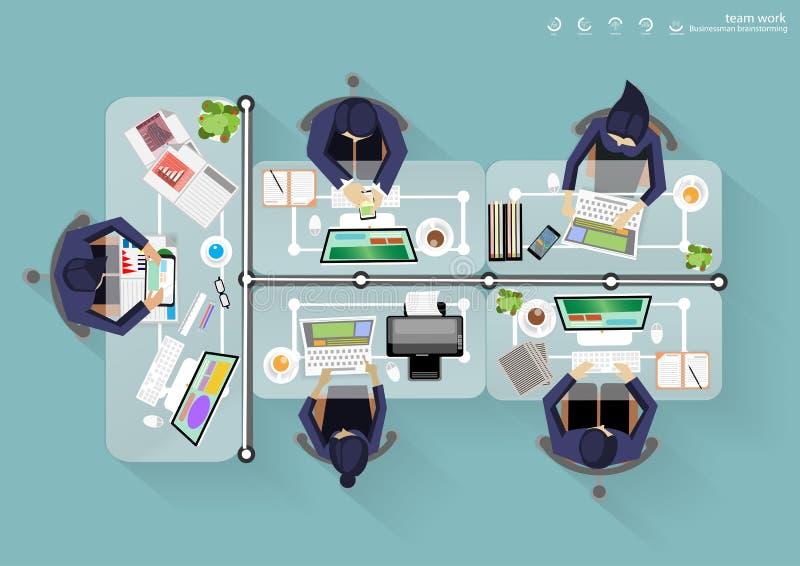 Wektorowi Biznesowi miejsce pracy wierzchołka kąta brainstorming pomysły dla zadania, wspiera komputerowej notatnik pastylki Mobi ilustracja wektor