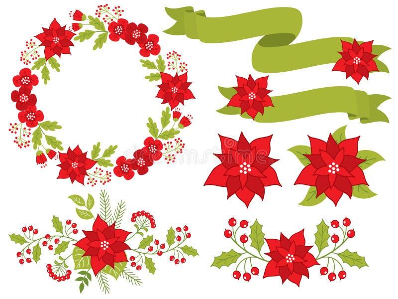 Wektorowi boże narodzenia i nowy rok Ustawiający z Kwiecistym wiankiem, bukietami i faborkami, ilustracja wektor