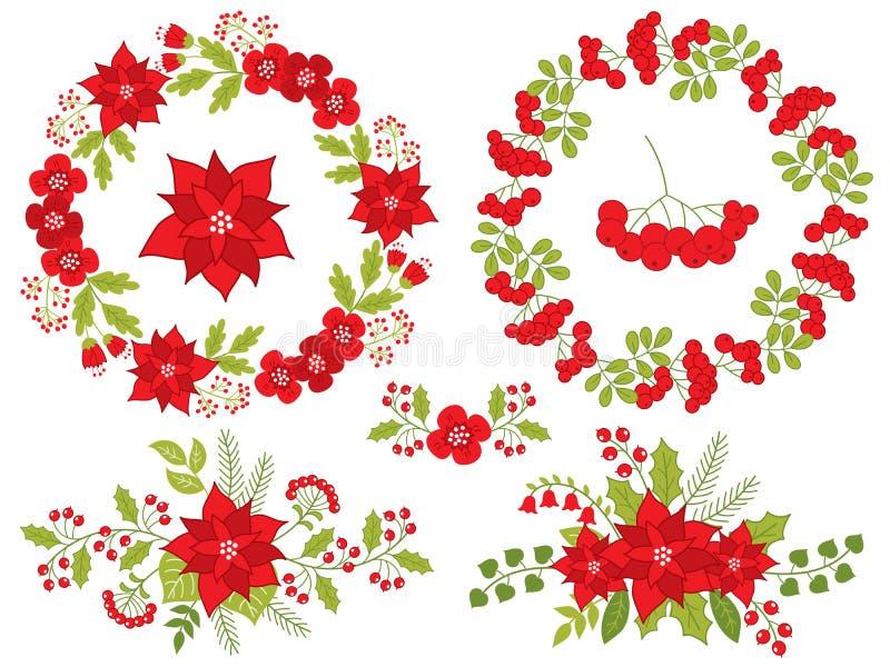 Wektorowi boże narodzenia i nowy rok Ustawiający z Kwiecistym wiankiem i bukietem royalty ilustracja