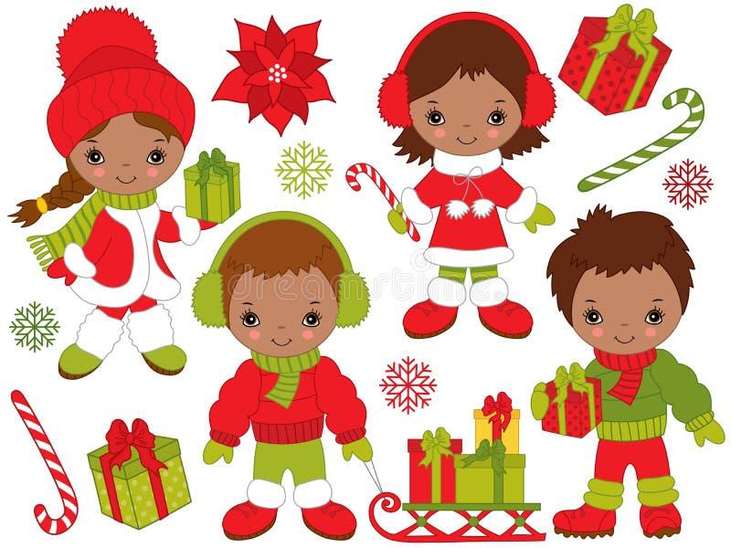 Wektorowi boże narodzenia i nowy rok Ustawiający z Małymi amerykan afrykańskiego pochodzenia dzieciakami i zima elementami royalty ilustracja