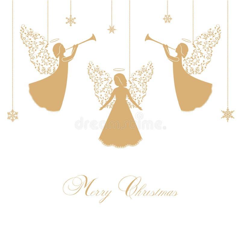 Wektorowi Bożenarodzeniowi aniołowie z ornamentacyjnymi skrzydłami ilustracji