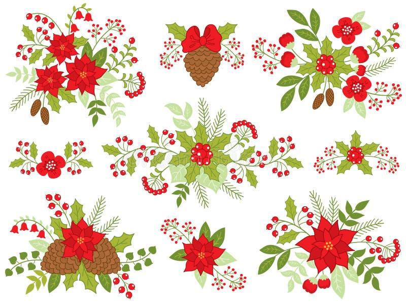 Wektorowi Bożenarodzeniowi Kwieciści bukiety z poinsecją, sosna rożkami i Czerwonymi jagodami, royalty ilustracja