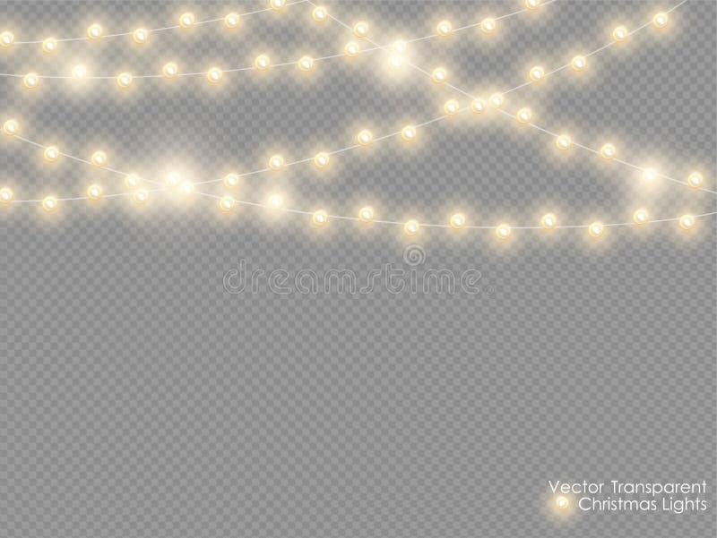 Wektorowi bożonarodzeniowe światła odizolowywający na przejrzystym tle Xmas rozjarzona girlanda Złoci semitransparent nowy rok św royalty ilustracja
