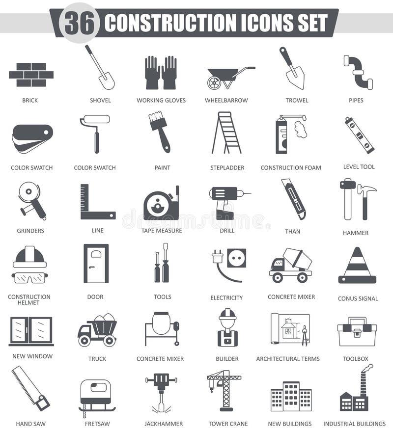 Wektorowi budowy i budynku narzędzia czernią ikona set Zmrok ikony popielaty klasyczny projekt dla sieci ilustracji