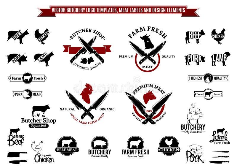 Wektorowi Butchery loga szablony, etykietki, ikony i projektów elementy, ilustracja wektor