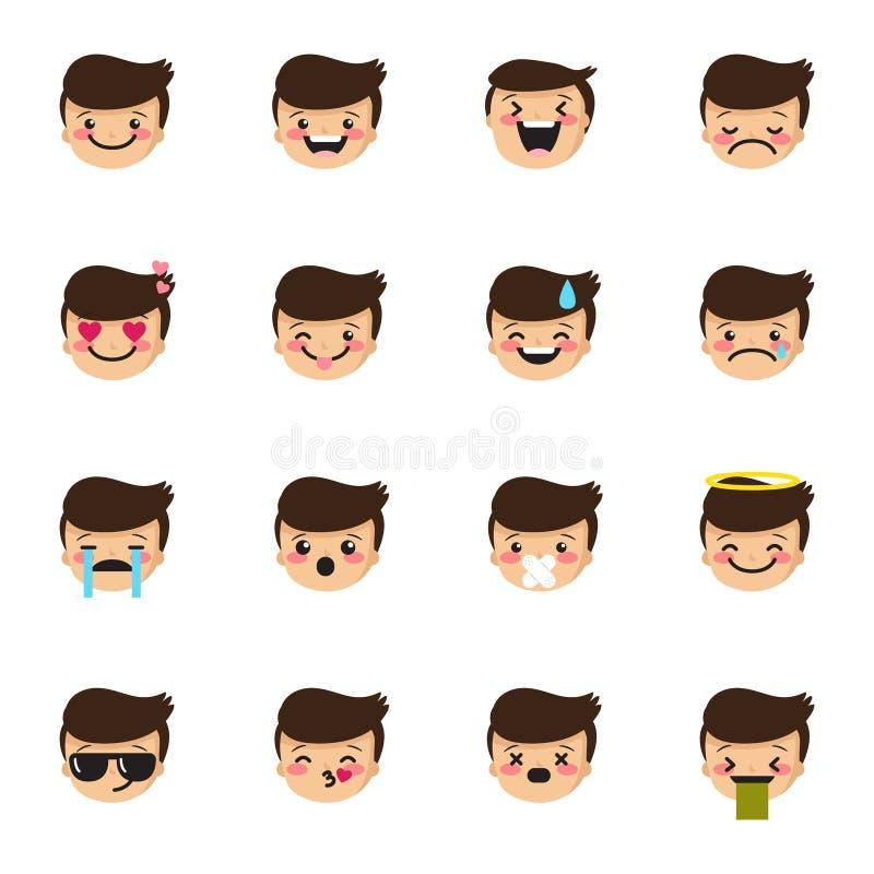Wektorowi chłopiec emoticons inkasowi Śliczny dzieciaka emoji set ilustracja wektor