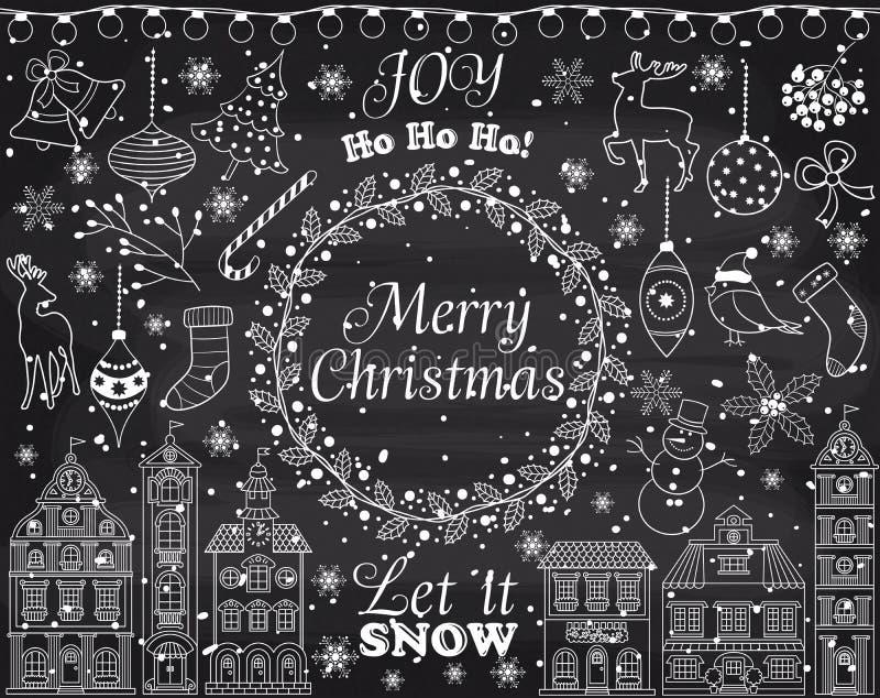 Wektorowi Chalkboard boże narodzenia, nowy rok Ustawiający z zima elementami i royalty ilustracja