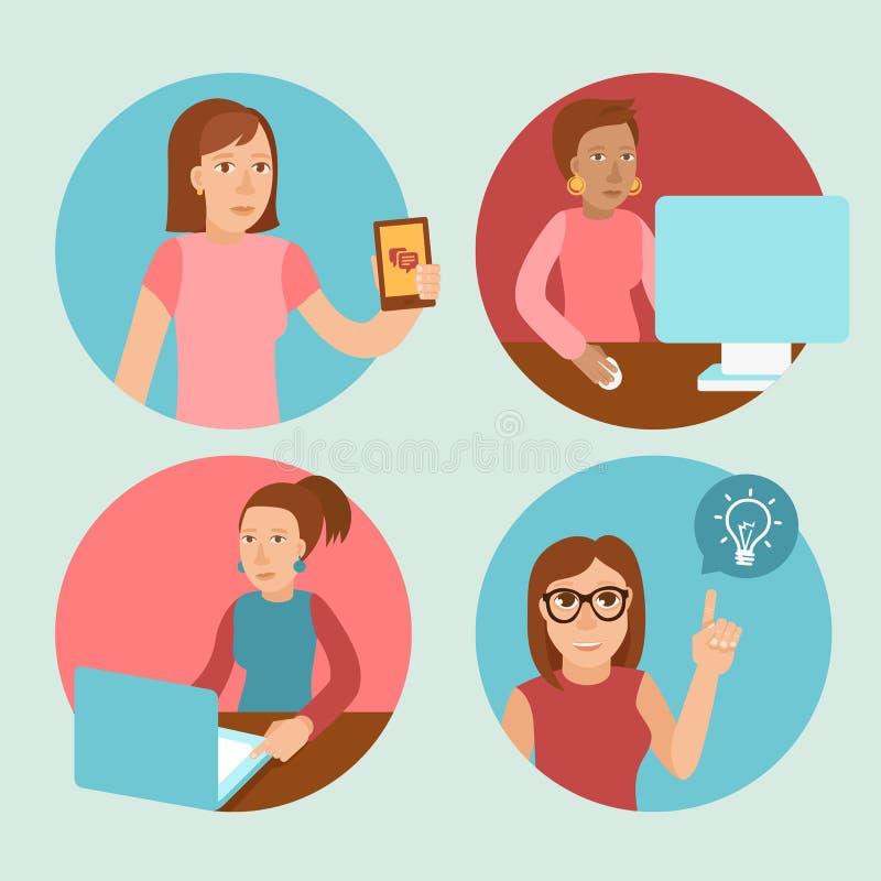 Wektorowi charaktery pracuje przy komputerami ilustracja wektor