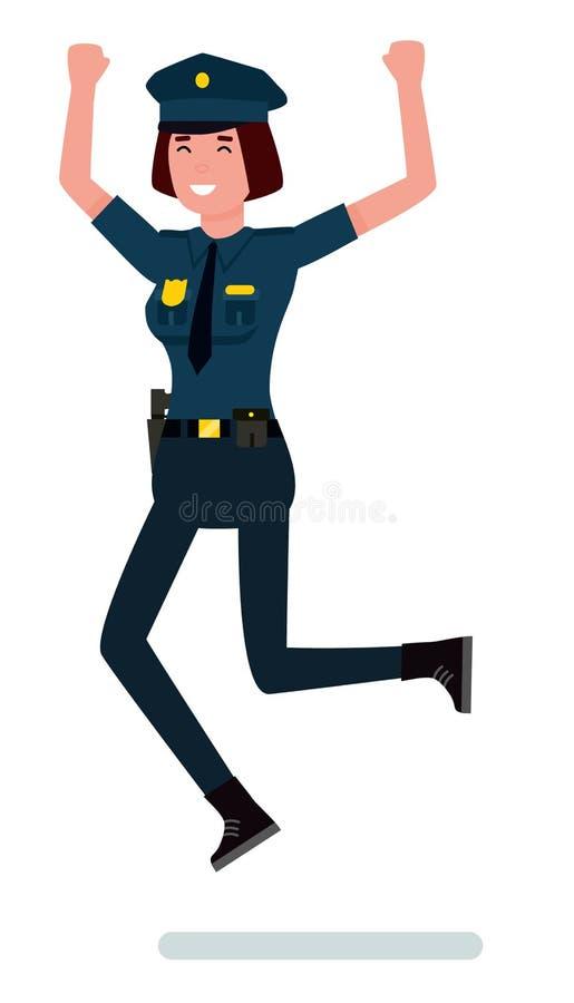 Wektorowi charaktery: szczęśliwy kobieta funkcjonariusz policji Kreskówka charakteru płaska wektorowa ilustracja ilustracji