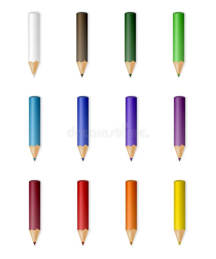 Wektorowi colour ołówki ilustracji