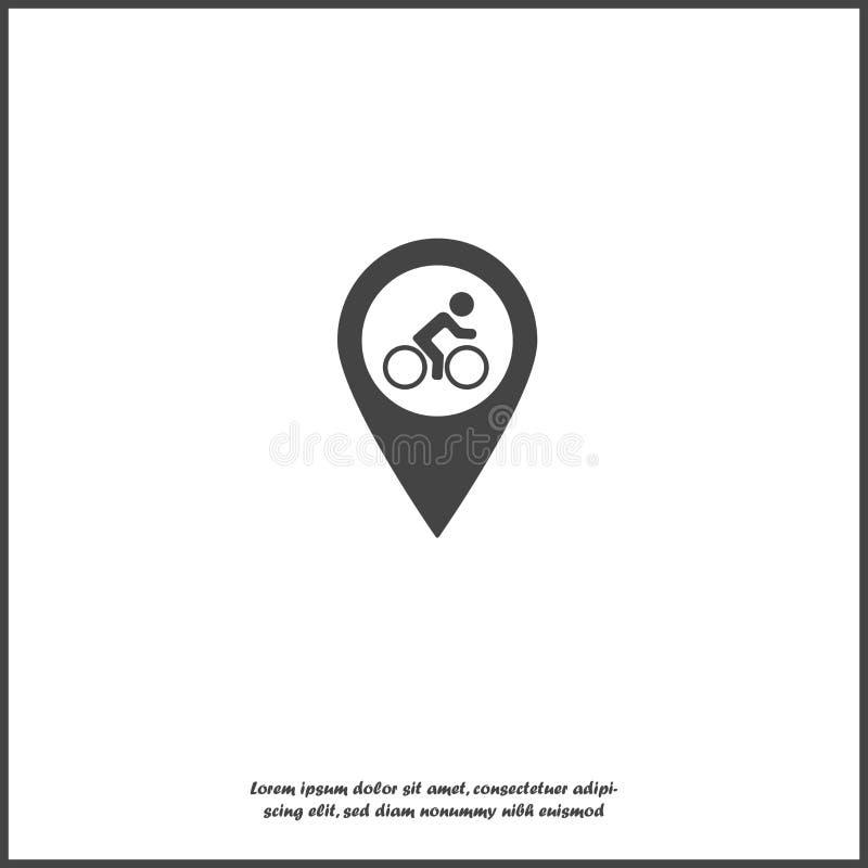 Wektorowi cykliści parkuje ikonę Pointer na mapa cykliście ilustracji