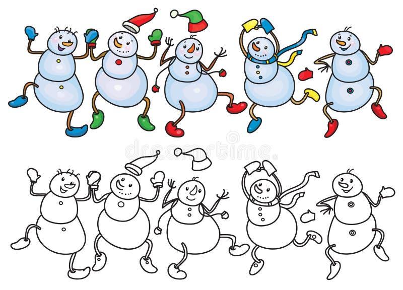 Wektorowi dancingowi bałwany ilustracji