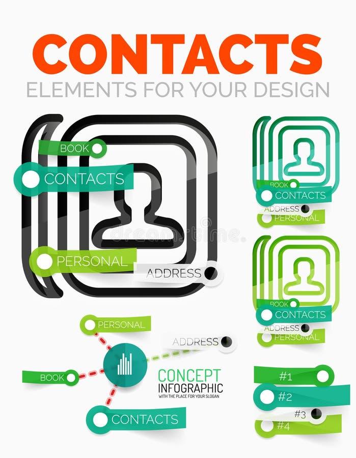 Wektorowi diagramów elementy ustawiający kontaktu pojęcia książkowe ikony z klingerytu papierem projektują majcherów ilustracji