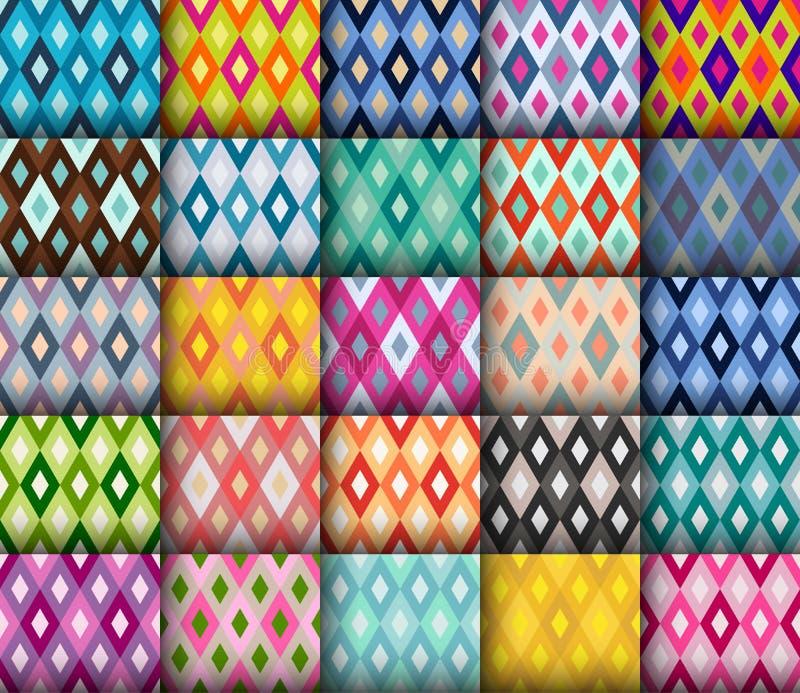 Wektorowi diamentowi bezszwowi colourful wzory royalty ilustracja