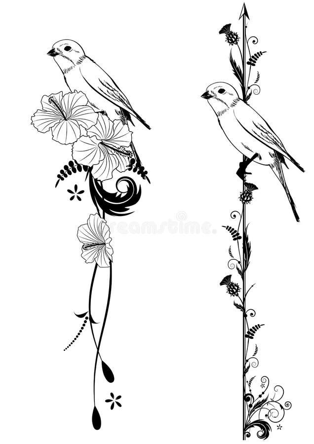 Wektorowi dividers z ptakiem ilustracji