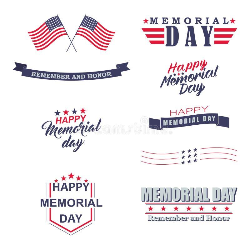 Wektorowi dnia pamięci projekta elementy Szczęśliwy dzień pamięci, Pamięta literowanie dla wakacyjnego projekta i Honoruje ilustracji