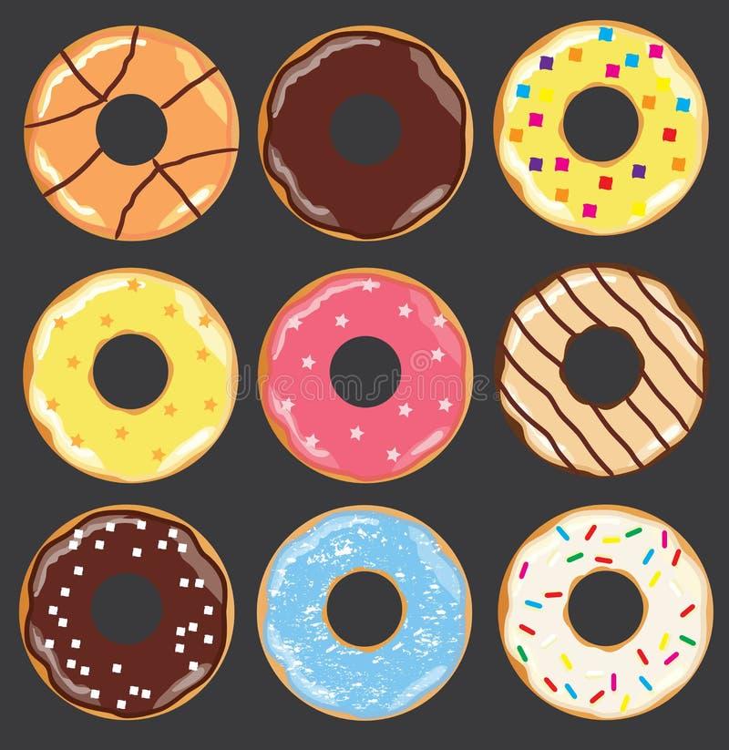 Wektorowi donuts ustawiający ilustracja wektor