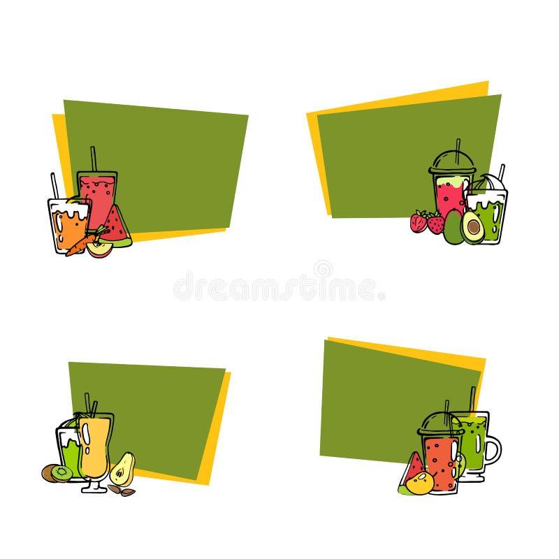 Wektorowi doodle smoothie majchery z tekst ustaloną ilustracją royalty ilustracja