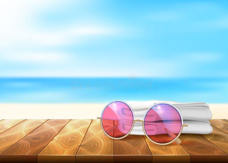 Wektorowi drewniani podłoga plaży nadmorski okulary przeciwsłoneczni ręcznikowi ilustracji