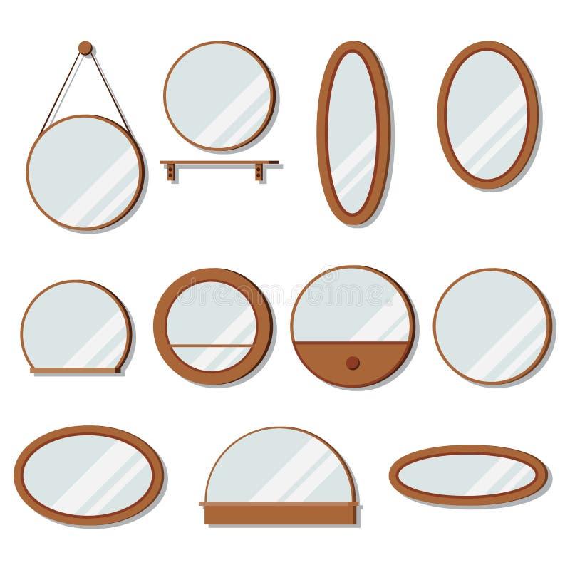 Wektorowi drewnianych ram lustra ustawiają round kształt royalty ilustracja