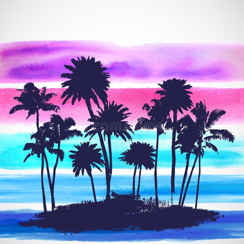 Wektorowi drzewka palmowe ilustracyjni ilustracji
