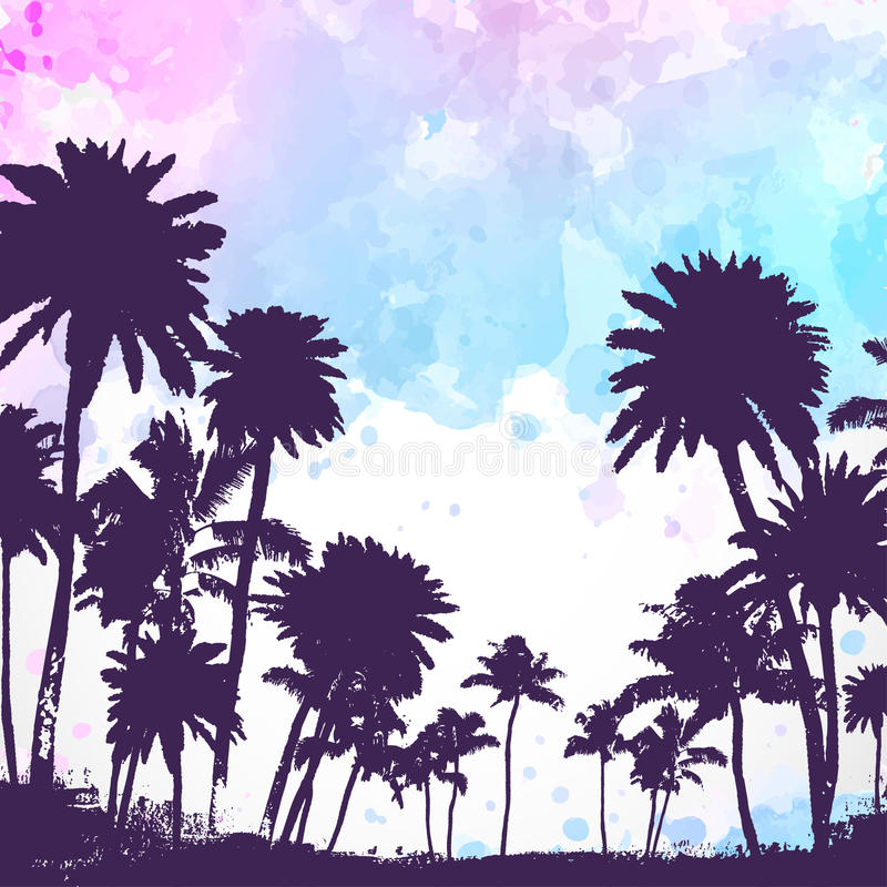 Wektorowi drzewka palmowe na akwareli tle royalty ilustracja