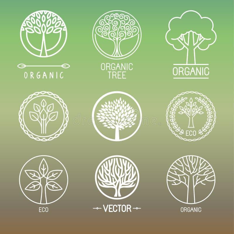 Wektorowi drzewni logowie i odznaki ilustracja wektor
