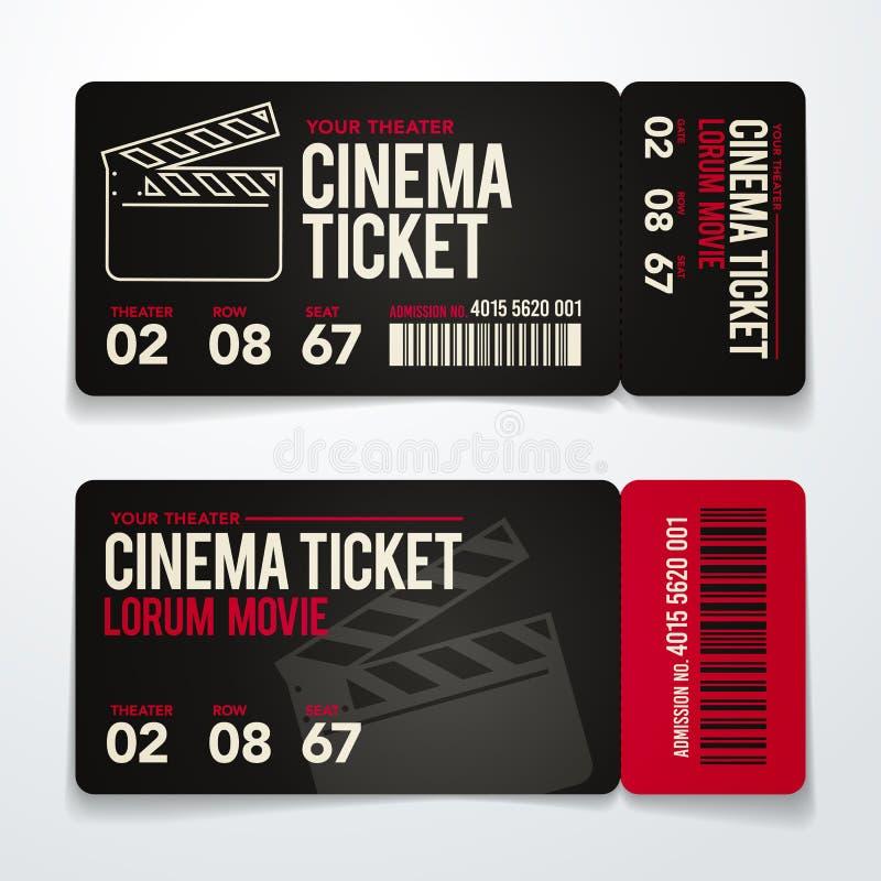 Wektorowi dwa ilustraci kinowi bilety projektują szablonu set royalty ilustracja