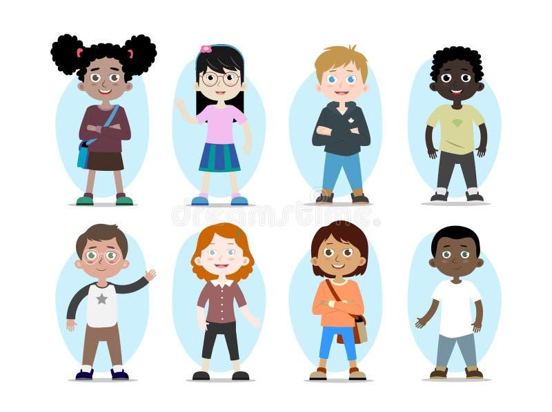 Wektorowi dziecko charaktery różne rasy royalty ilustracja