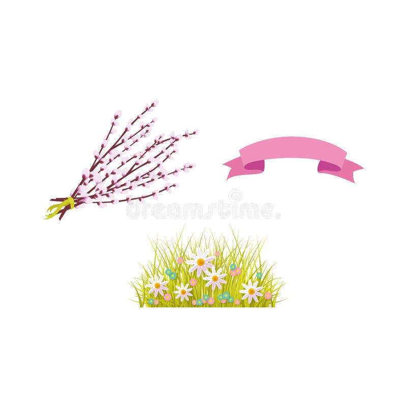 Wektorowi Easter wiosny wakacyjni przedmioty ustawiają ikonę ilustracji