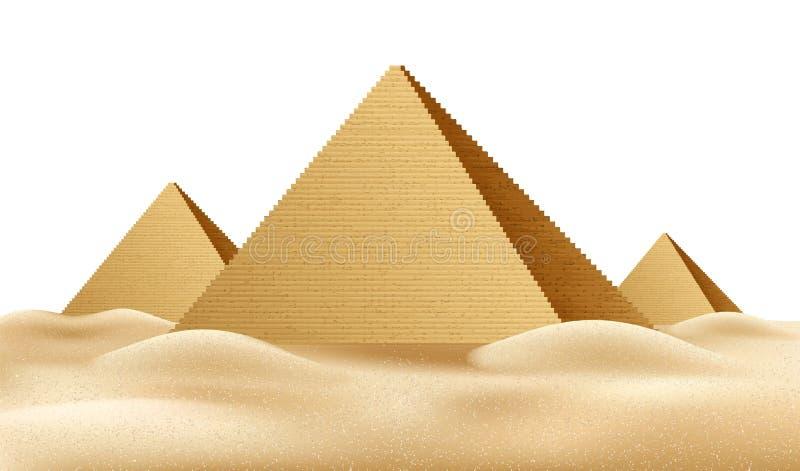 Wektorowi Egipt ostrosłupy, sławny punkt zwrotny realistyczny a ilustracji
