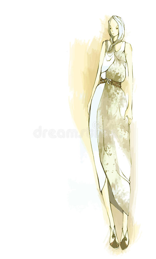 Wektorowi eleganccy, stylizowani moda modele ilustracyjni, obraz stock