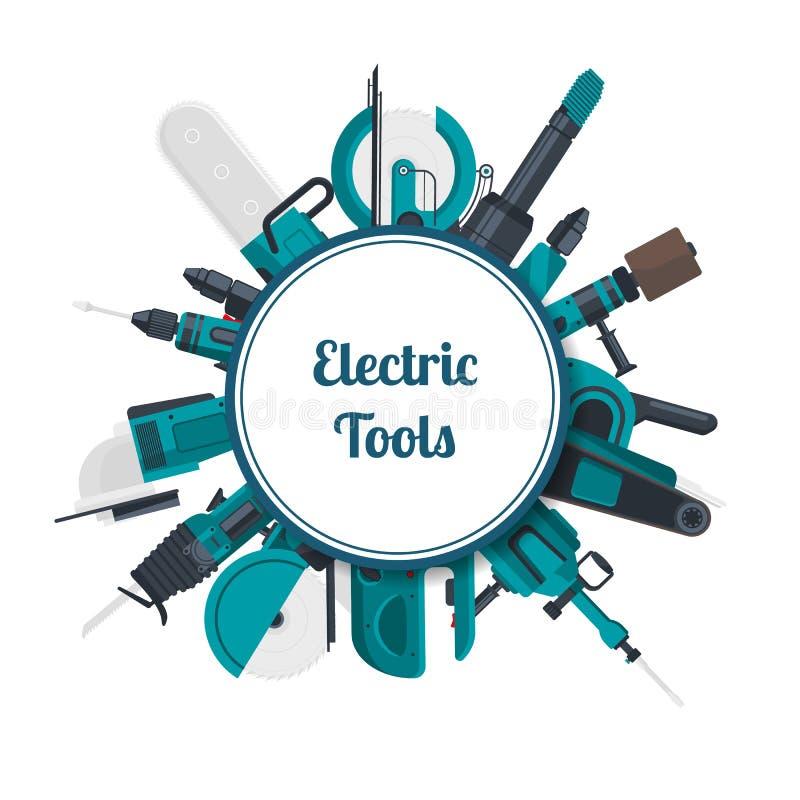 Wektorowi elektryczni budów narzędzia pod okręgiem z miejscem dla tekst ilustraci royalty ilustracja