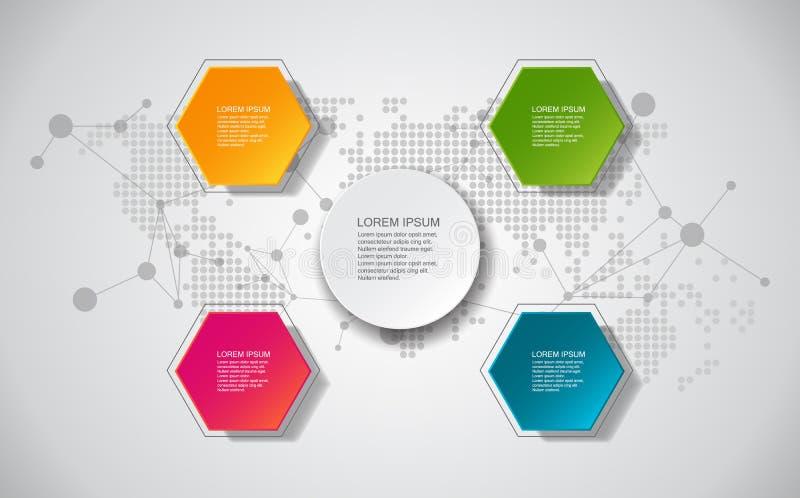 Wektorowi elementy dla infographic Projektuje sztandaru szablon, grafikę lub strona internetowa układ/ Szablon dla diagrama pojęc ilustracji
