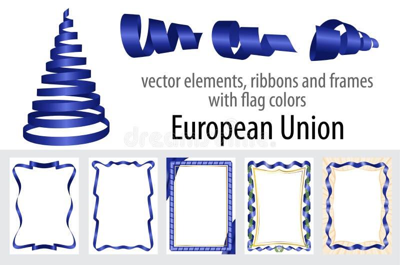 Wektorowi elementy, faborki, ramy z chorągwianymi kolorami Europejski zjednoczenie, szablon dla twój świadectwa i dyplom, ilustracji