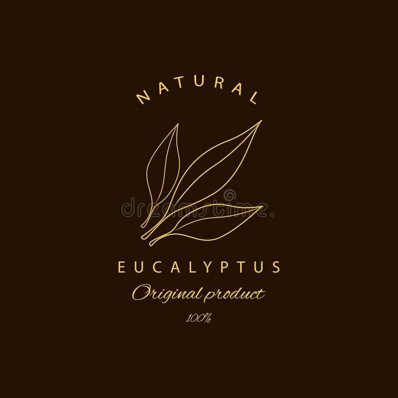 Wektorowi eukaliptusowi logo projekta szablony i emblemat Pi?kno i kosmetyk?w oleje - eukaliptus Naturalny eukaliptus Logo w lini ilustracji