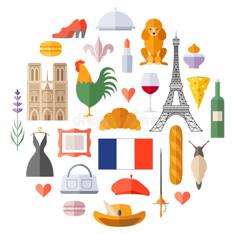 Wektorowi francuscy symbole i ikony Ilustracja na turystycznym temacie ilustracja wektor